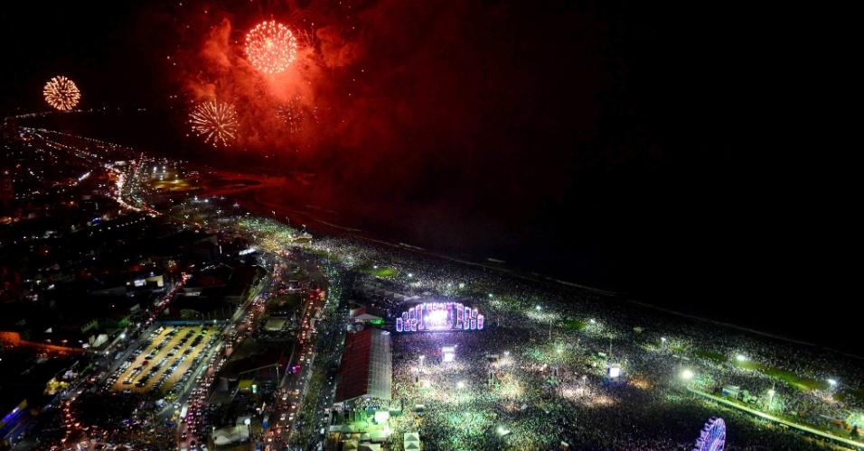 Queima de fogos na virada do ano em Salvador