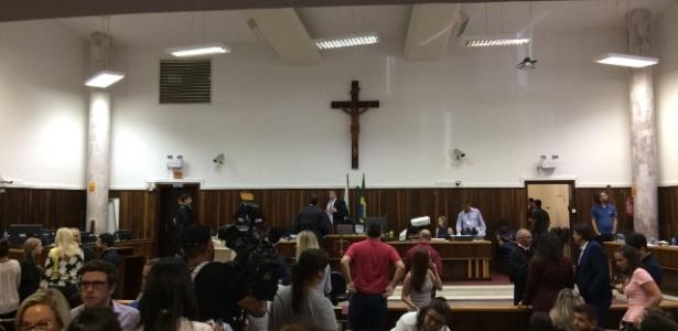 Interior do Tribunal do júri onde acontece o julgamento do ex-deputado Fernando Ribas Carli Filho, em Curitiba - Janaina Garcia/UOL