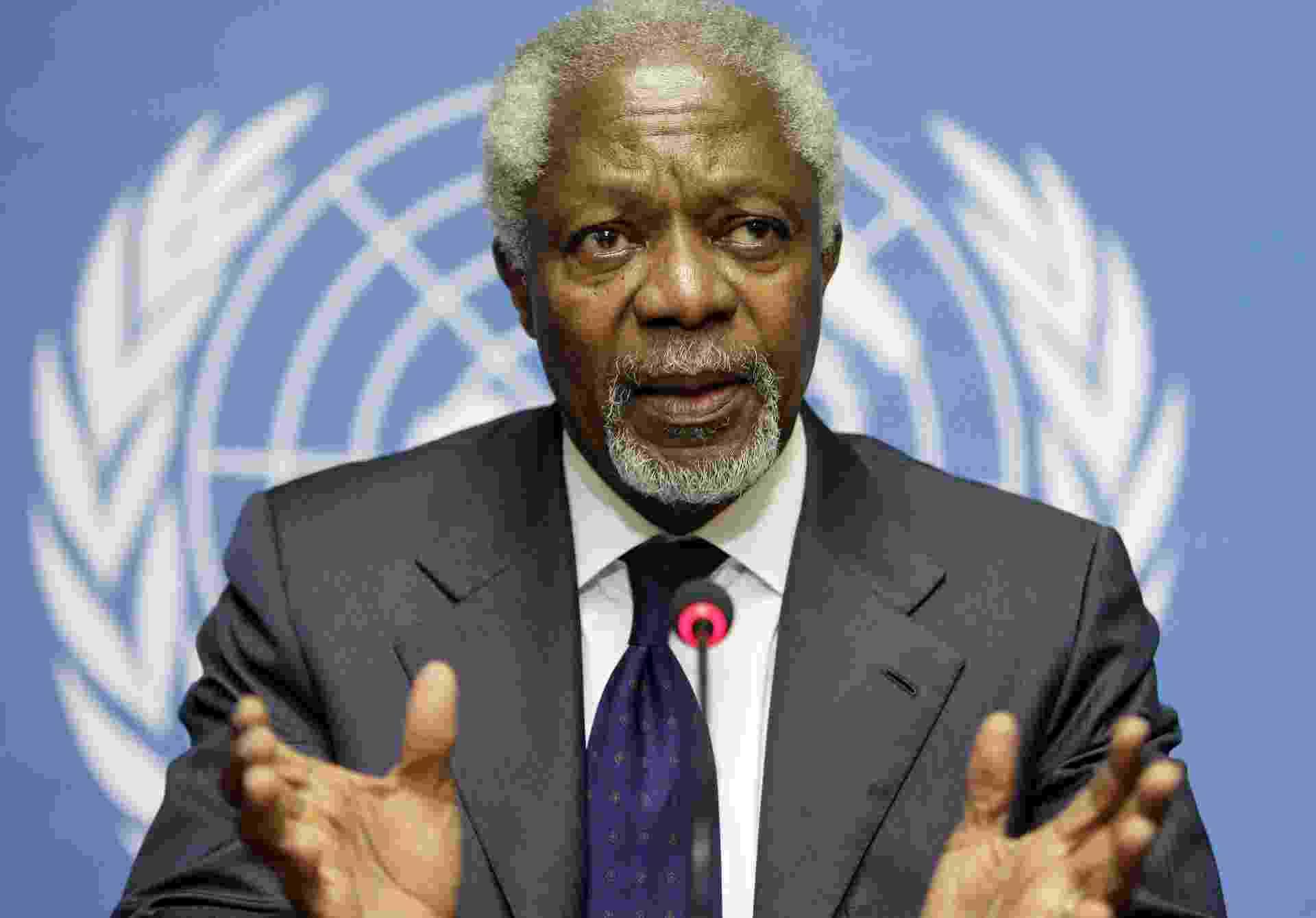 30.jun.2012 - O ex-secretário geral da ONU Kofi Annan, Enviado Especial das Nações Unidas e da Liga Árabe para a Síria, durante conferência de imprensa em Gênova - Valentin Flauraud/Reuters