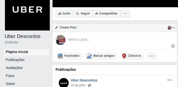 Exemplo da página falsa da Uber no Facebook - Reprodução