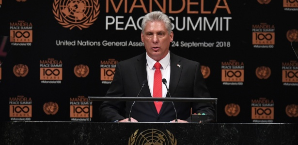 O presidente de Cuba, Miguel Díaz-Canel, discursa na ONU pela primeira vez e critica corrida armamentista mundial - Timothy  A. Clary/AFP
