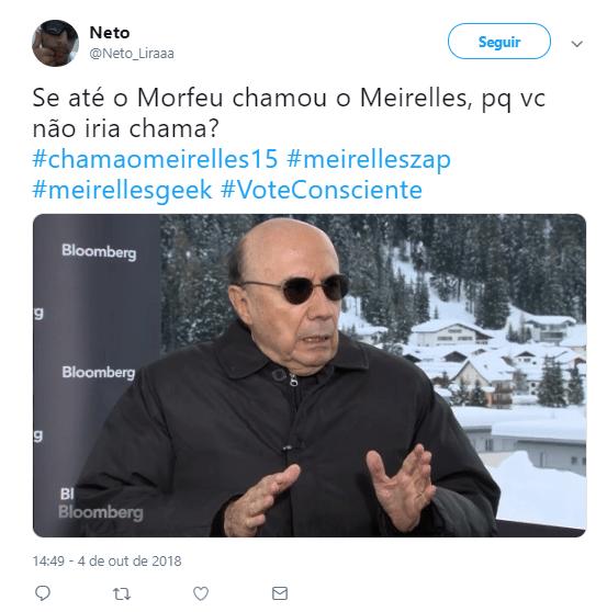 """Normalmente sisudo por tratar de assuntos cabeludos, o ex-ministro da economia Henrique Meirelles (MDB) recebeu um banho de cultura pop pela equipe de sua campanha, que tentou apresentá-lo como o candidato que pode combater o """"lado negro da força"""". Não colocou muito com o internauta, que usou o slogan """"Meirelles Geek"""" para produzir diversos memes. Nesse aqui, por exemplo, Meirelles é Neo, personagem de Keanu Reeves em """"Matrix"""". Que a força esteja com vocês. Não, pera..."""