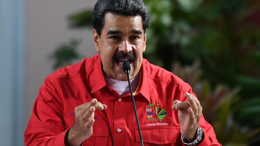 28.jul.2019 - Líder venezuelano, Nicolás Maduro, em discurso durante o Foro de São Paulo no Palácio Presidencial de Miraflores em Caracas - Federico Parra/AFP