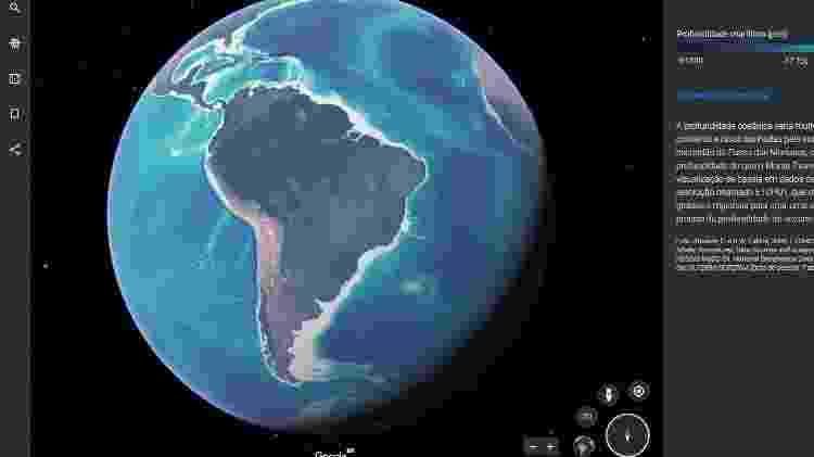 Função permite ao usuário saber a profundidade de pontos específicos dos oceanos - Reprodução