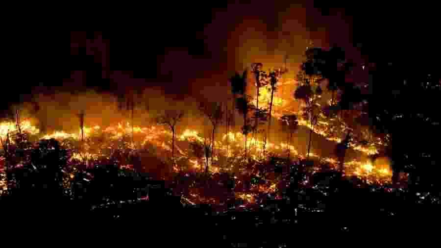 Foco de incêndio na Floresta Amazônia em São Félix do Xingu, no Pará  - Daniel Beltrá/Greenpeace