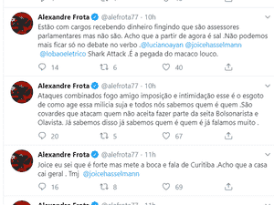"""Em tweet, Frota citou a """"milícia suja"""" - reprodução"""
