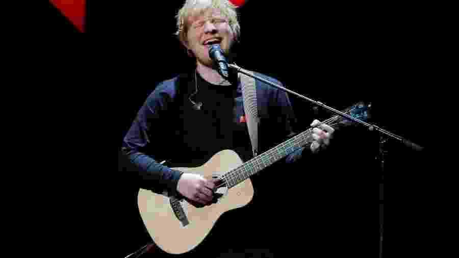 Ed Sheeran durante apresentação em Nova York - Lucas Jackson