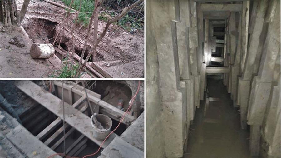 Túnel encontrado em Tijuana, no México, e ligado ao grupo de narcotraficantes chefiado por El Chapo, foi equipado com ventilação e trilhos - Reprodução/The Mexico News Daily