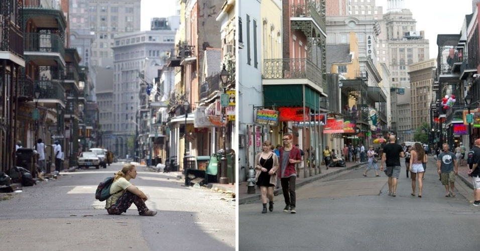 Antes e depois: combinação de imagens mostra o bairro francês de Bourbon Street, em Nova Orleans (EUA), após a passagem do furacão Katrina, em 31 de agosto de 2005, e reconstruído em 16 de agosto de 2015. Há dez anos, o furacão Katrina varreu edifícios, alagou quase totalmente a cidade e causou mais de 1.800 mortes