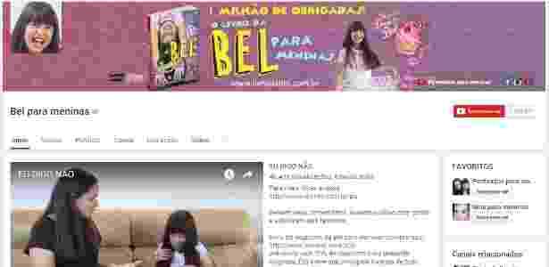 "Página principal do canal do Youtube ""Bel para Meninas"" - Reproduçõa/Youtube"