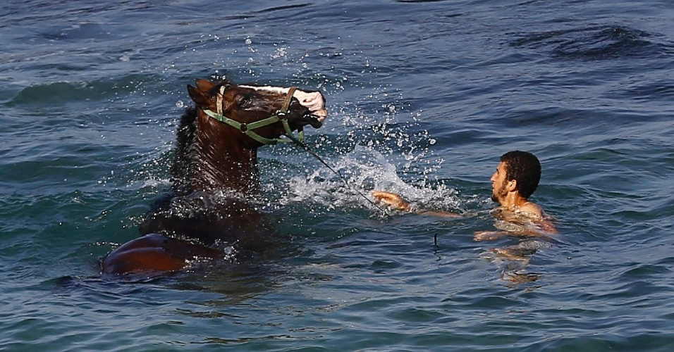 7.out.2016 - Palestino nada com seu cavalo no mar Mediterrâneo em Gaza