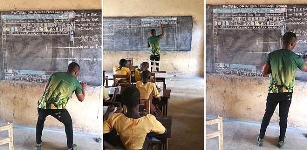 O professor Akoto, de Gana, desenha na lousa o gráfico explicando um programa da Microsoft; seus alunos precisam fazer um teste de informática, mas não têm computadores