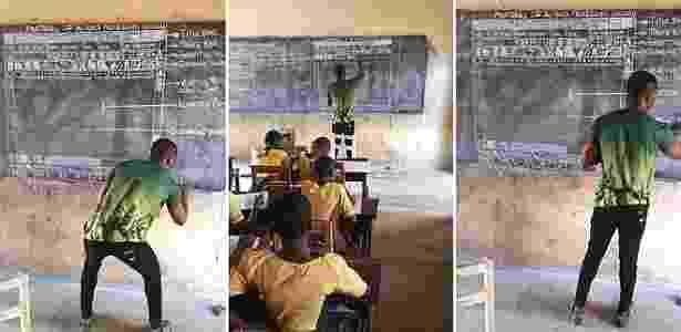O professor Akoto, de Gana, desenha na lousa o gráfico explicando um programa da Microsoft; seus alunos precisam fazer um teste de informática, mas não têm computadores - Innocent Frimpong