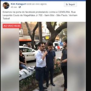 Protesto do MBL contra o Facebook foi transmitido ao vivo pela página de Kim Kataguiri, um dos líderes do movimento, na própria rede social