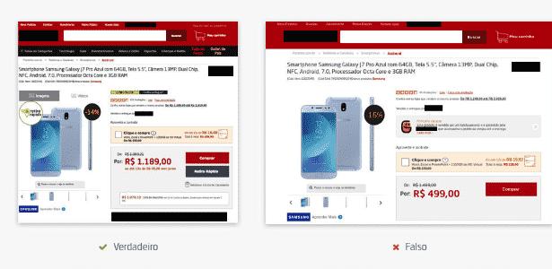 """Site falso copia design da página verdadeira com promoções """"imperdíveis"""" - Reprodução"""