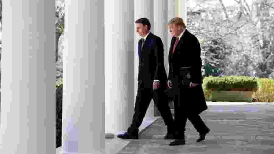 Os presidentes dos EUA e do Brasil pouco antes do comunicado à imprensa - Alan Santos / Presidência da República