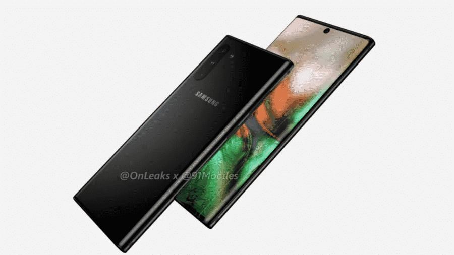 Renderização do possível Galaxy Note 10 - Reprodução/OnLeaks/91Mobiles