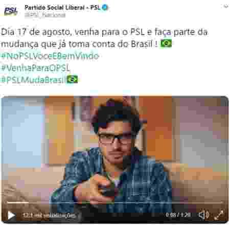 Campanha do PSL que utilizou imagem de ator sem autorização - 10.ago.2019 - Reprodução