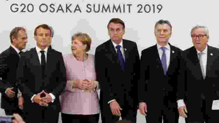 Bolsonaro e Merkel na cúpula do G20 em junho; ocasião em que Brasil e Alemanha trocaram farpas a respeito de política ambiental - Reuters
