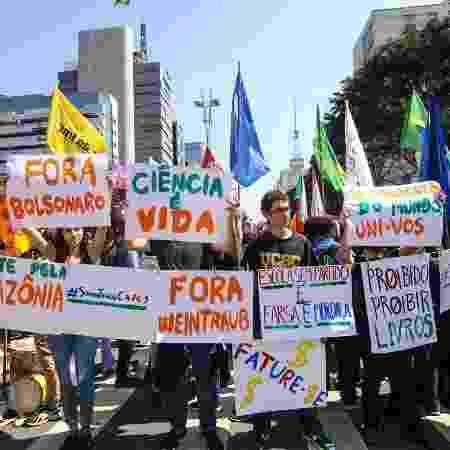 7.set.2019 - Protesto contra bloqueios no orçamento da Educação e contra o presidente Bolsonaro em São Paulo - Reprodução/Twitter