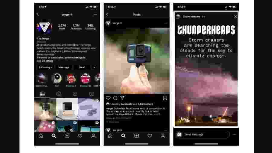Instagram adiciona recurso com modo escuro  - Reprodução/Instagram
