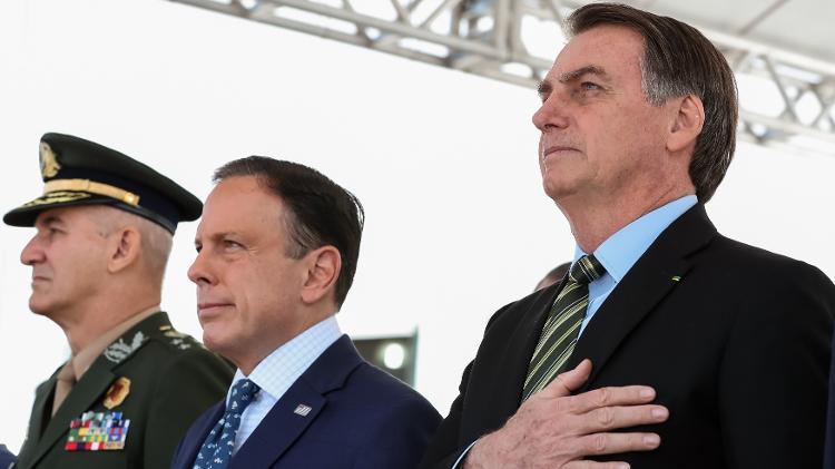 Bolsonaro e Doria em evento de formatura da PM-SP - Marcos Corrêa/PR