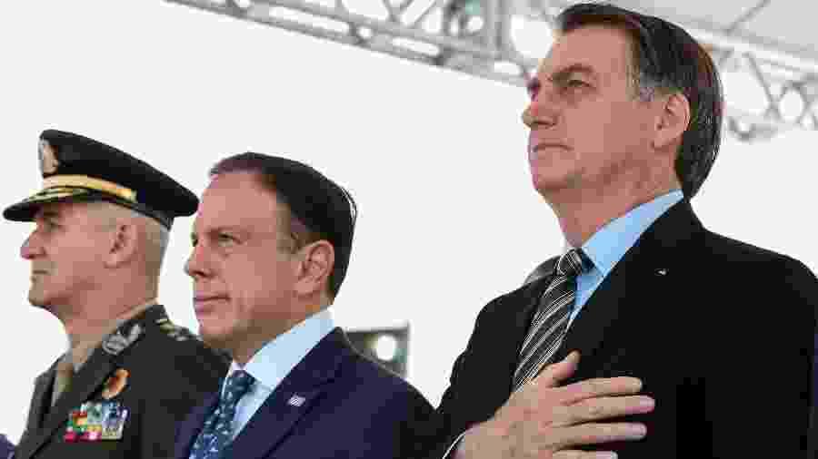 Jair Bolsonaro e João Doria em evento de formatura da PM-SP - Marcos Corrêa/PR