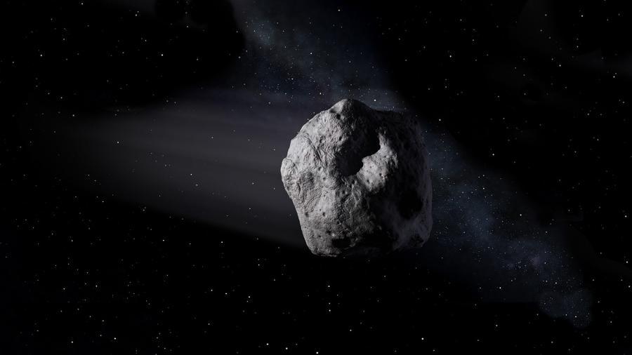 Ilustração mostra um asteroide próximo à Terra, como o 2020 SW, viajando pelo espaço - Nasa/JPL-Caltech