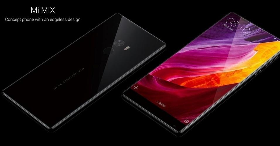 26.out.2016 - A Xiaomi acaba de lançar o Mi Mix, o primeiro smartphone do mercado praticamente sem borda. Com tela de 6,4 polegadas, que ocupa 91,3% da parte frontal, o aparelho conta com processador Snapdragon 821, 4 GB de memória RAM, 128 GB de armazenamento interno, câmera traseira de 16 megapixels, câmera frontal de 5 megapixels e bateria de 4.400 mAh. Haverá ainda uma versão com 6 GB de RAM e 256 GB de armazenamento interno