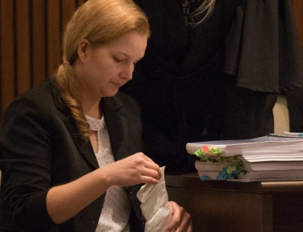 Elize, durante o último dia de julgamento no Fórum da Barra Funda, em São Paulo - Jales Valquer/Fotoarena/Estadão Conteúdo