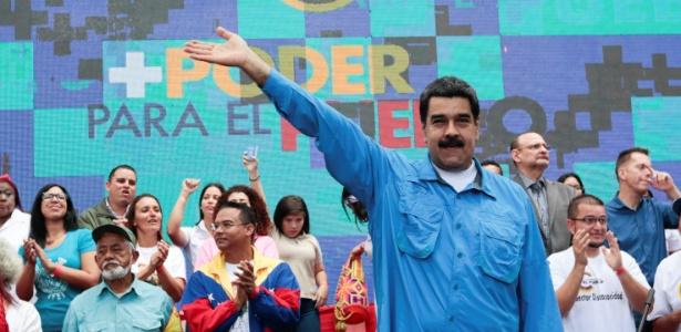 O presidente da Venezuela, Nicolás Maduro, participa de evento em Caracas