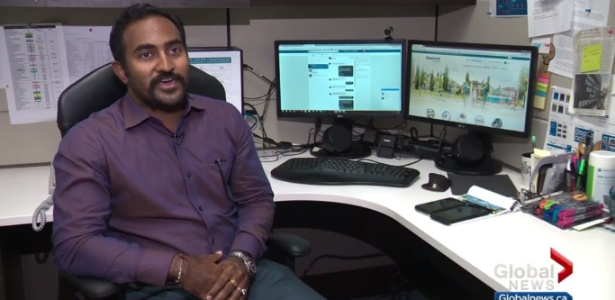 Shiva Kumar Shunmugam, que administra as redes sociais da cidade canadense - Reprodução de vídeo/GlobalNews