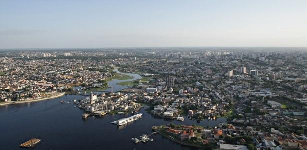 Vista aérea de Manaus; cidade produz uma nova cena de startups