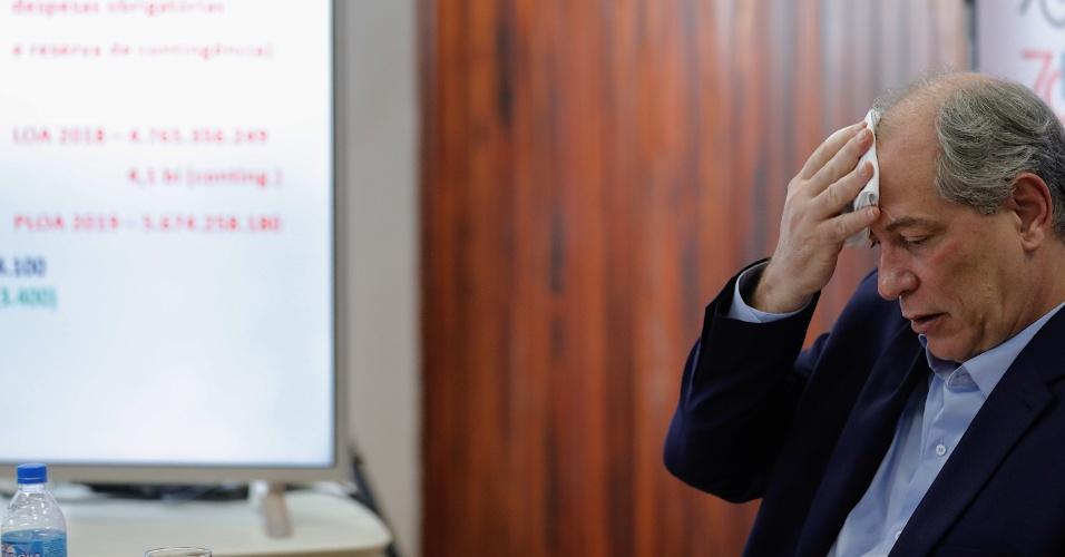 18.set.2018 - O candidato à presidência da República pelo PDT, Ciro Gomes, participa de debate na Sociedade Brasileira para o Progresso da Ciência (SBPC), na rua Maria Antônia, região central da capital paulista, na manhã desta terça
