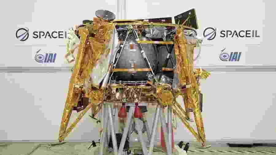A espaçonave Beresheet iria estudar o magnetismo da Lua se alcançasse a superfície - Beresheet/Divulgação