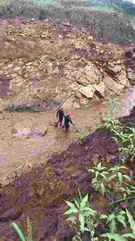 Bombeiros fazem buscas em área onde, de um lado, a lama já está seca e, de outro, brotam algumas plantas - Divulgação/Bombeiros MG
