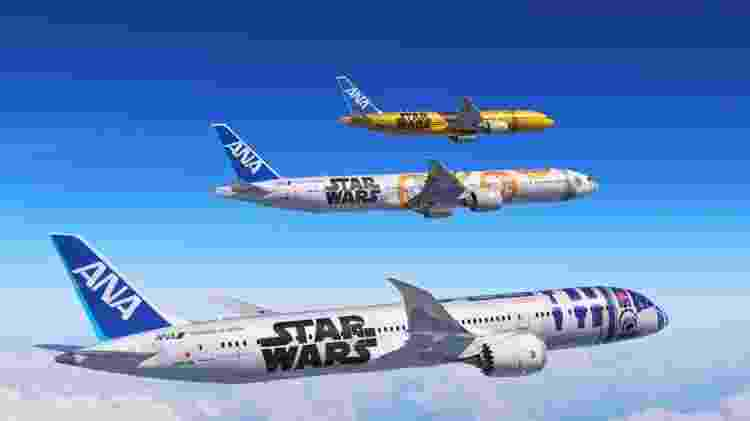 Três aviões da japonesa ANA com pinturas de Star Wars - Divulgação  - tres avioes da japonesa ana com pinturas de star wars 1572620163163 v2 750x421 - Aviões são pintados de Millennium Falcon e mostram vídeos de Star Wars