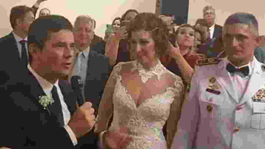 Moro discursa no casamento de Carla Zambelli e coronel Aginaldo - Reprodução/Instagram