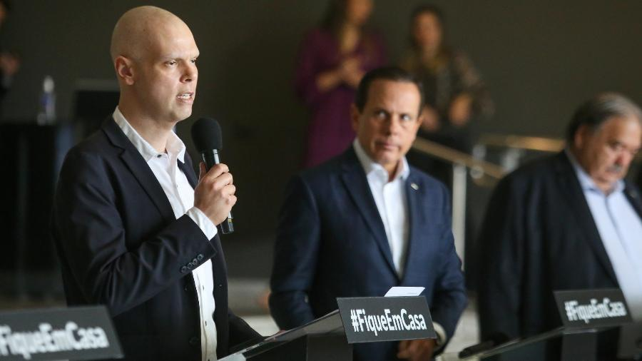 O prefeito de São Paulo, Bruno Covas (PSDB-SP), durante coletiva de imprensa sobre o coronavírus - Divulgação/Governo de São Paulo