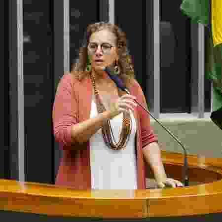 18.mar.2020 - A deputada Jandira Feghali (PCdoB-RJ) durante sessão deliberativa na Câmara - Pablo Valadares/Câmara dos Deputados