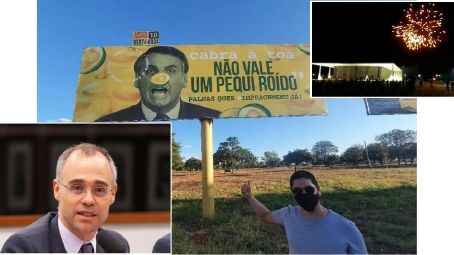 Como ministro da Justiça, André Mendonça mandou investigar até outdoor contra Bolsonaro - Rwprodução; AGU/Ascom/Divulgação; Reprodução
