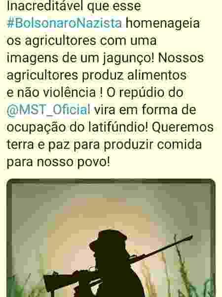 Tweet de João Paulo Rodrigues, líder do MST - Reprodução twitter - Reprodução twitter