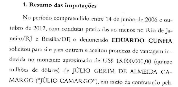 Trecho da denúncia da PGR contra Eduardo Cunha - Reprodução