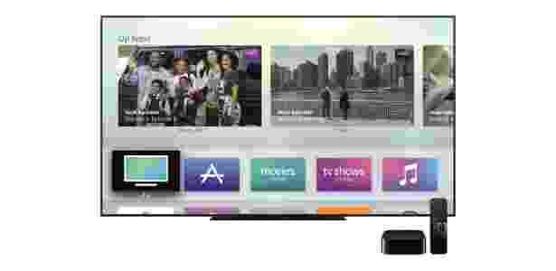 Apple TV em funcionamento: na tela principal, acesso a músicas, filmes, vídeos e apps - Divulgação