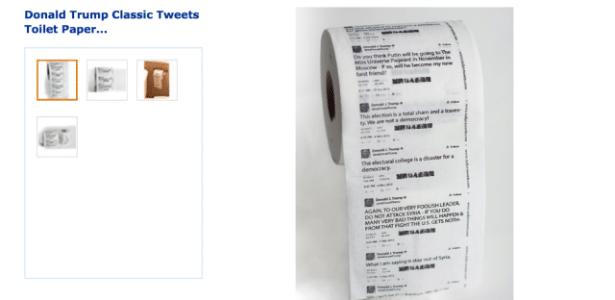 Tuítes clássicos do presidente Donald Trump em formato papel higiênico