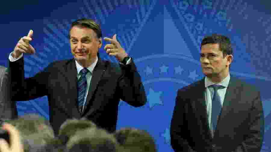 O presidente Jair Bolsonaro e o ministro da Justiça, Sergio Moro - Fátima meira/Futura Press /Estadão Conteúdo