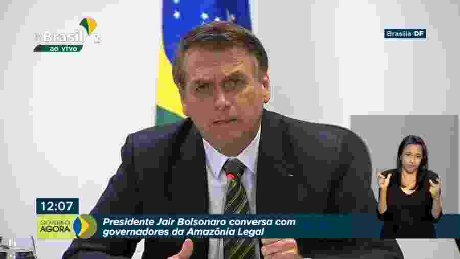 O presidente Jair Bolsonaro durante conversa com governadores da Amazônia Legal sobre proteção ambiental - Reprodução/Facebook/TV Brasil Gov