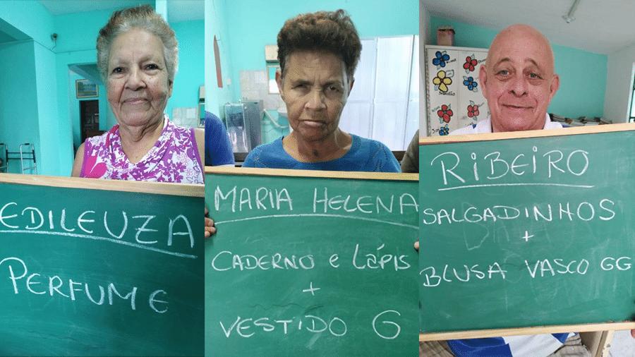 Idosos fazem pedidos para serem apadrinhados em asilo Amor e Vida de Santa Cruz, no Rio - Reprodução/Facebook