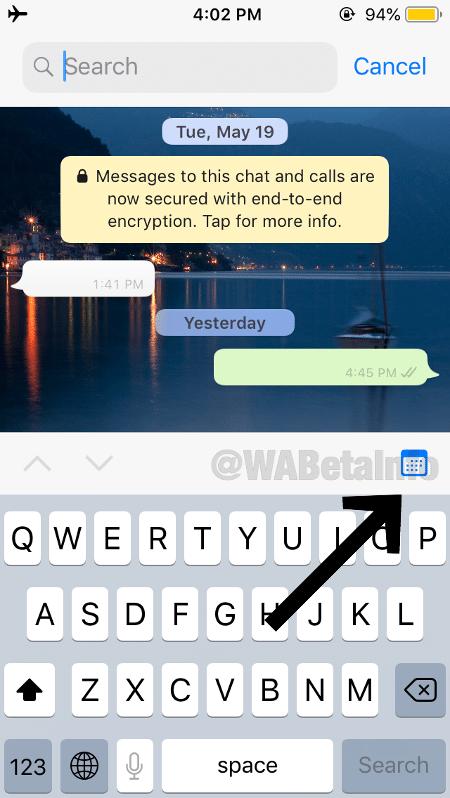 Função de buscar por data deve chegar em breve ao WhatsApp - Reprodução/WaBetaInfo - Reprodução/WaBetaInfo