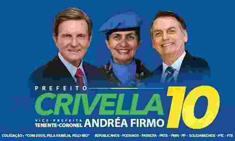 Imagem usada por Marcelo Crivella em campanha pela reeleição no Rio de Janeiro traz a imagem de Jair Bolsonaro - Reprodução/Twitter - Reprodução/Twitter